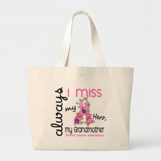 Breast Cancer Miss My Grandmother 3 Large Tote Bag