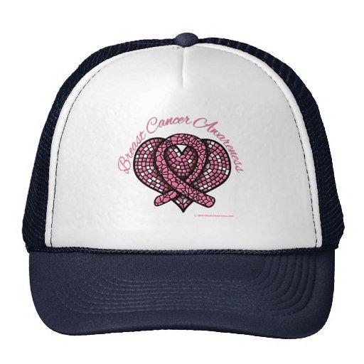 Breast Cancer Mosaic Heart Ribbon Hat