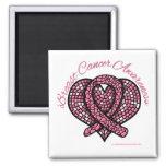 Breast Cancer Mosaic Heart Ribbon Refrigerator Magnets
