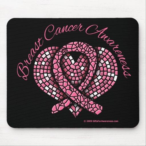 Breast Cancer Mosaic Heart Ribbon Mouse Pad