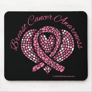 Breast Cancer Mosaic Heart Ribbon Mouse Pad