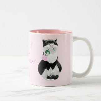 Breast Cancer Mug - Cat with Pink Rose