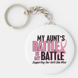 Breast Cancer My BATTLE TOO 1 Aunt Basic Round Button Keychain