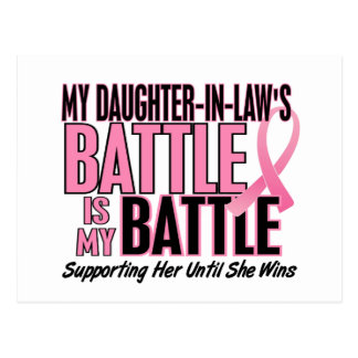 Breast Cancer My BATTLE TOO 1 Daughter-In-Law Postcard