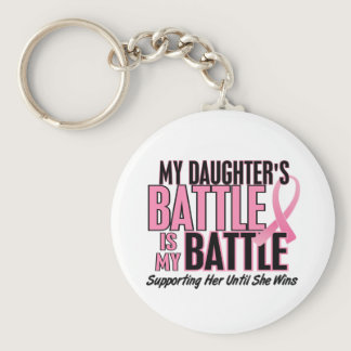 Breast Cancer My BATTLE TOO 1 Daughter Keychain