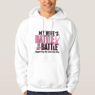 Breast Cancer My BATTLE TOO 1 Wife Hoodie