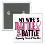 Breast Cancer My BATTLE TOO 1 Wife Pinback Buttons