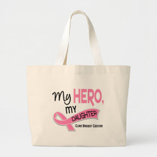 Breast Cancer MY HERO, MY DAUGHTER 42 Large Tote Bag
