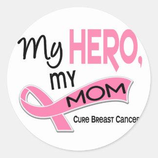 Breast Cancer MY HERO, MY MOM 42 Classic Round Sticker