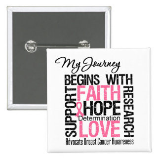 BREAST CANCER My Journey Begins With FAITH Pinback Button
