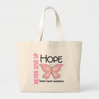 Breast Cancer Never Give Up Hope Butterfly 4.1 Large Tote Bag