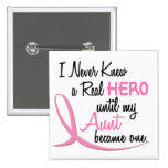 BREAST CANCER Never Knew A Hero 3 AUNT Button