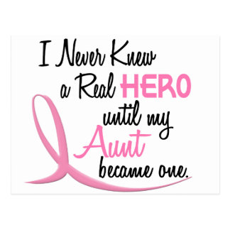 BREAST CANCER Never Knew A Hero 3 AUNT Postcard