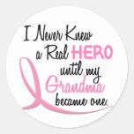 BREAST CANCER Never Knew A Hero 3 Grandma Stickers