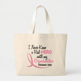 BREAST CANCER Never Knew A Real Hero 3 Grandmother Large Tote Bag