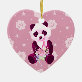 Breast Cancer Panda Bear Ceramic Ornament