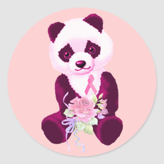 Breast Cancer Panda Bear Classic Round Sticker