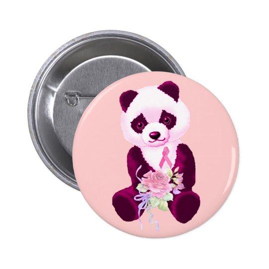 Breast Cancer Panda Bear Pinback Button