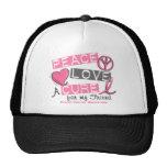 Breast Cancer PEACE, LOVE, A CURE 1 (Friend) Mesh Hat