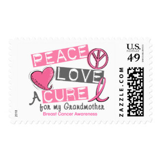Breast Cancer PEACE, LOVE, A CURE 1 (Grandmother) Postage