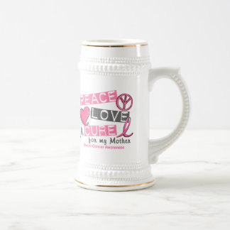 Breast Cancer PEACE, LOVE, A CURE 1 (Mother) 18 Oz Beer Stein