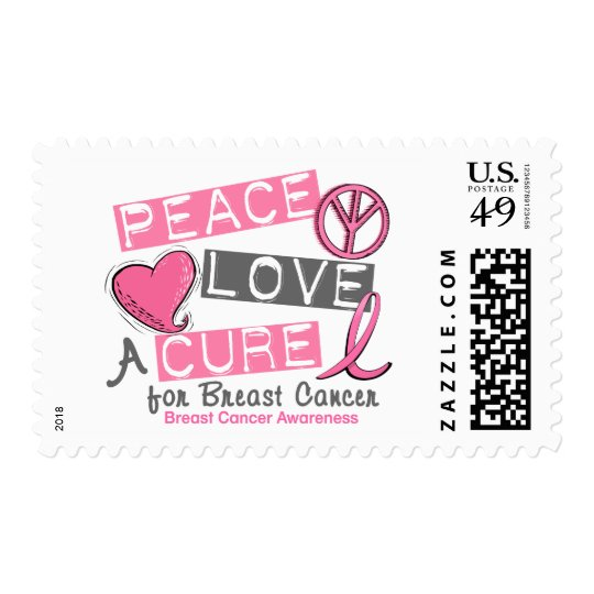 Breast Cancer PEACE, LOVE, A CURE 1 Postage