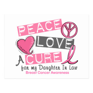Breast Cancer PEACE, LOVE, A CURE Daughter-In-Law Postcard
