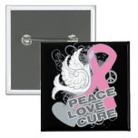 Breast Cancer Peace Love Cure Button