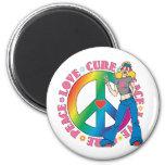 Breast Cancer Peace Love Cure Fridge Magnet