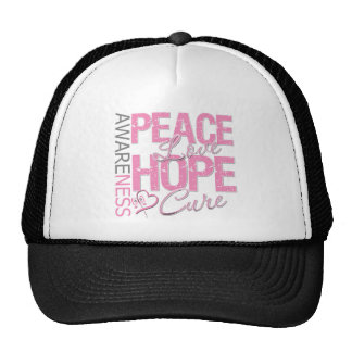 Breast Cancer Peace Love Cure Mesh Hats