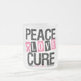 Breast Cancer Peace Love Cure Mug