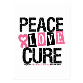 Breast Cancer Peace Love Cure Postcard