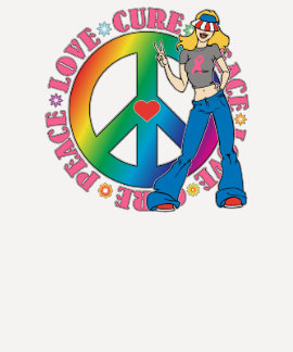 Breast Cancer Peace Love Cure Tshirt