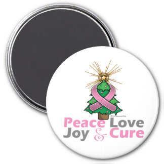 Breast Cancer Peace Love Joy Cure 3 Inch Round Magnet