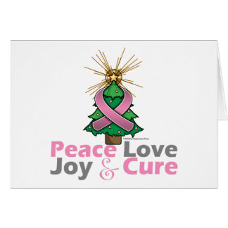 Breast Cancer Peace Love Joy Cure Greeting Card