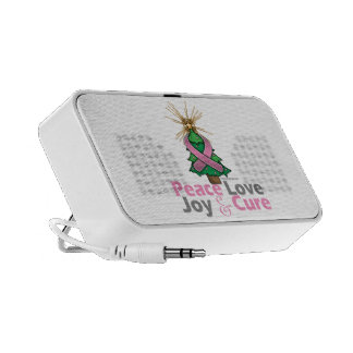 Breast Cancer Peace, Love, Joy & Cure Notebook Speakers