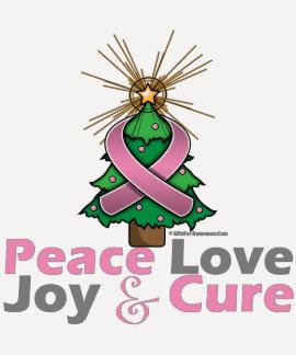 Breast Cancer Peace Love Joy Cure Tee Shirts