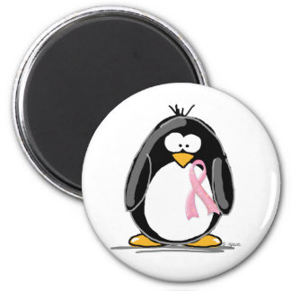 Breast Cancer Penguin 2 Inch Round Magnet