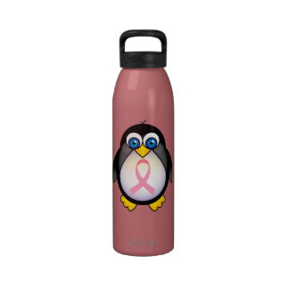 Breast Cancer Penguin Pink Ribbon Awareness Water Water Bottles