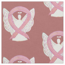 Breast Cancer Pink Awareness Ribbon Angel Fabric