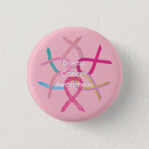 Breast Cancer Pink Awareness Ribbon Button Pin