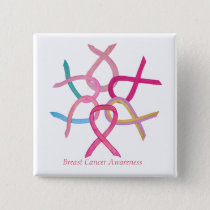Breast Cancer Pink Awareness Ribbon Button Pins