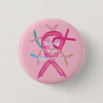 Breast Cancer Pink Awareness Ribbon Pin Buttons