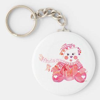 Breast Cancer Pink Bear Basic Round Button Keychain