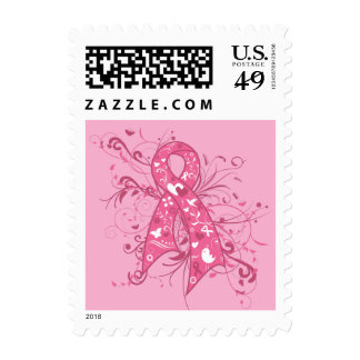 Breast Cancer Pink Floral Ribbon Swirl Stamp
