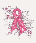 Breast Cancer Pink Floral Ribbon Swirl Tee Shirt