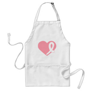 Breast Cancer Pink Heart Ribbon apron