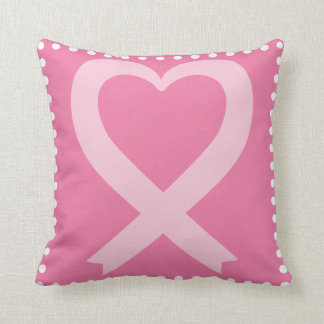 Breast Cancer Pink Heart Shaped Awareness Ribbon Throw Pillow