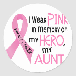 Breast Cancer PINK IN MEMORY OF MY AUNT 1 Classic Round Sticker
