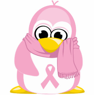 Breast Cancer Pink Penguin Cutout